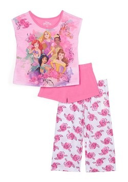 Toddler Girls 3 Piece Disney Princess Sleepwear Set