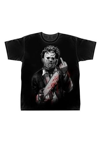Leatherface Middle Finger Mens Black T-Shirt