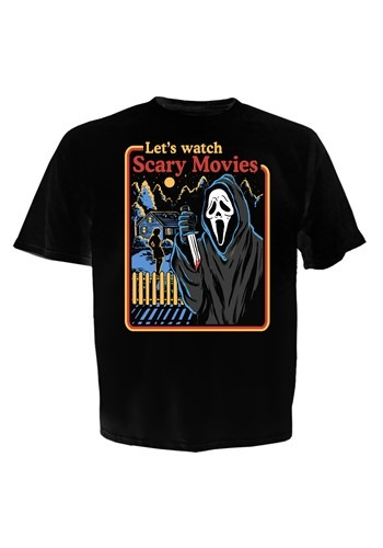 Ghostface Let's Watch Scary Movies Mens Black T-Sh