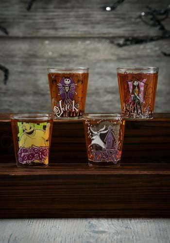 4 Pc Nightmare Before Christmas Clear Glass Shot Glass Set