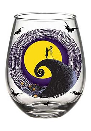 JACK AND SALLY MOON SCENE 20oz STEMLESS GLASS BOXED