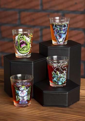 4 Piece Ghostbusters Neon Shot Clear Glass Shot Glass Set