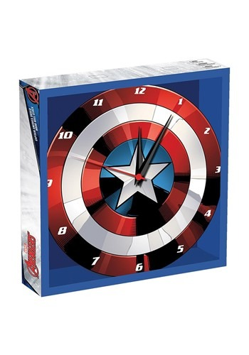 Marvel Captain America Shield 13.5 Cordless Wood Wall Clock
