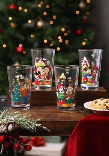 Disney Mickey & Minnie Holiday 16 oz. Glasses - Se-update