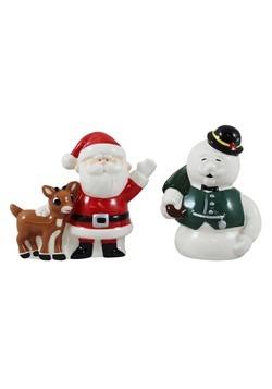 Rudolph Santa Snowman Ceramic Salt and Pepper Shakers