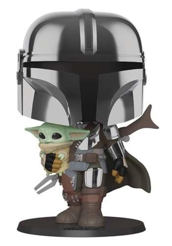 POP Star Wars 10 Chrome Mandalorian Holding Baby Yoda