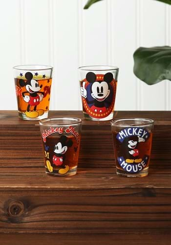 DISNEY MICKEY MOUSE VINTAGE 4PC SHOT GLASS-update
