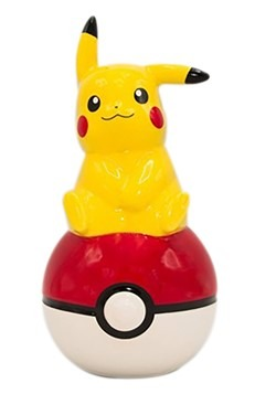 Pikachu Sitting on Pokeball Large Ceramic Coin Bank