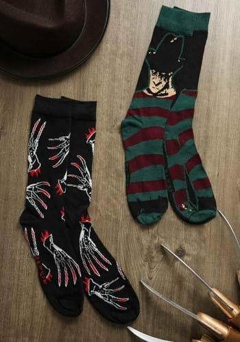 Mens 2 Pack Nightmare Black Freddy Crew Socks