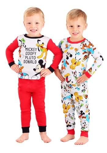 Toddler Mickey Goofy Pluto Donald 4 Piece Sleepwear Set
