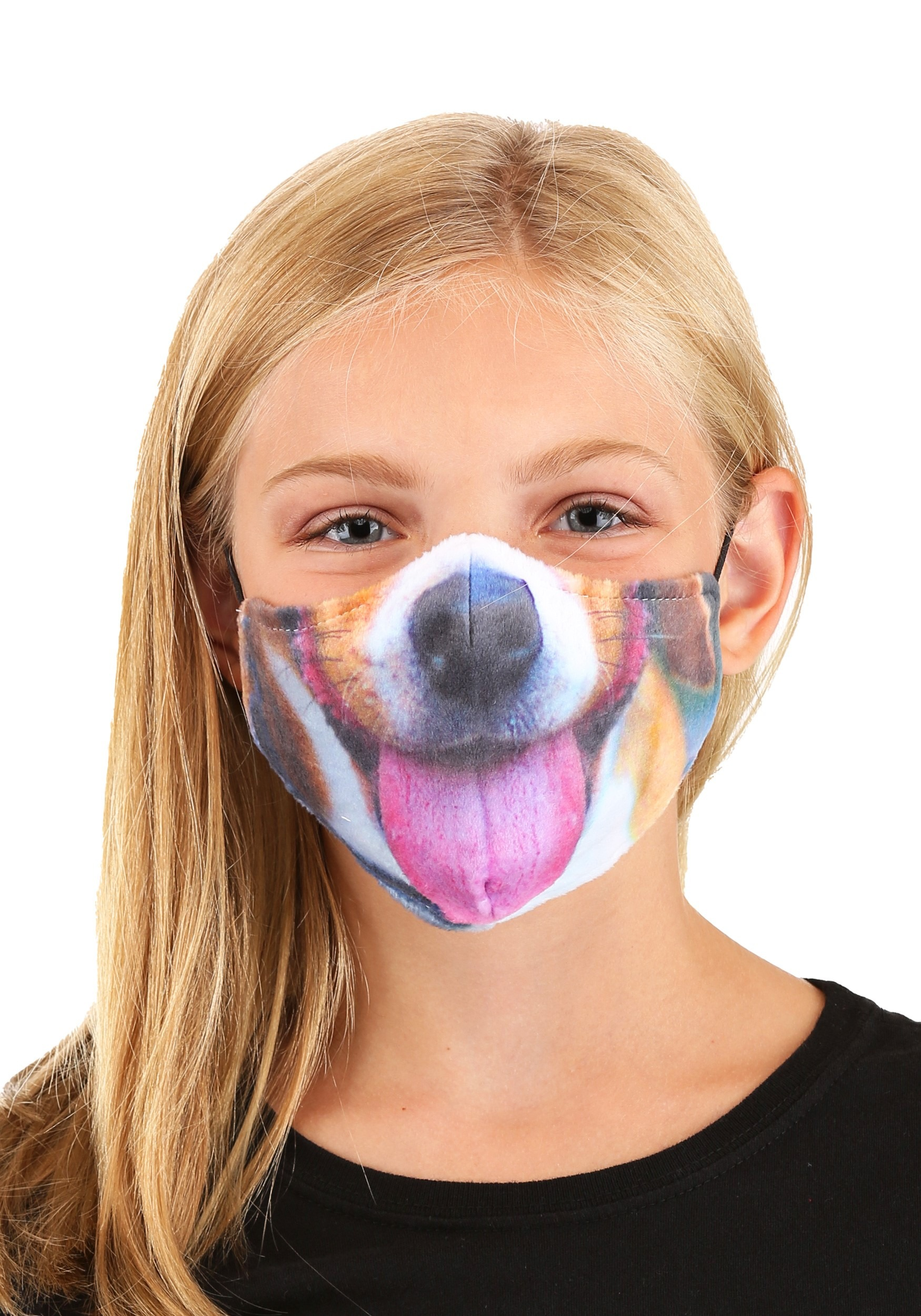 Dog with Tongue Sublimated Face Mask for Kids