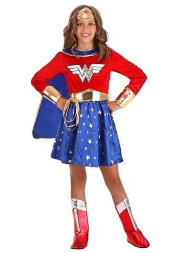 Kid's Wonder Woman Long Sleeve Dress Costume