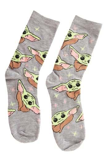 Womens Gray Heather The Child Yoda Crew Socks