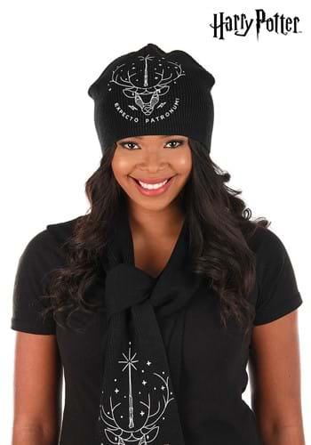 Black Patronus Glow Knit Beanie