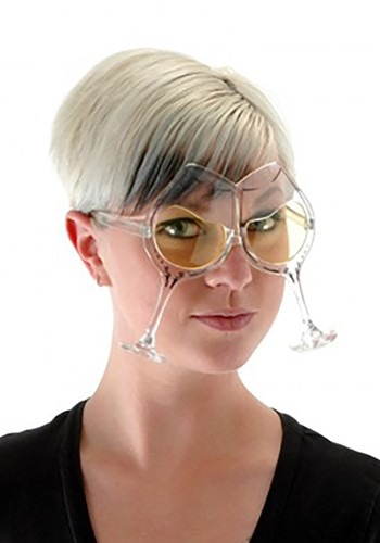 Adult Wine Goblet Eyeglasses Clear Yellow