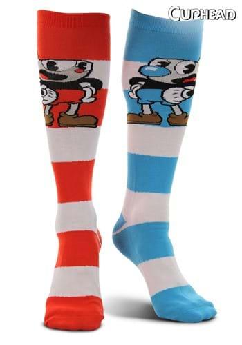 Striped Knee High Socks - Cuphead & Mugman