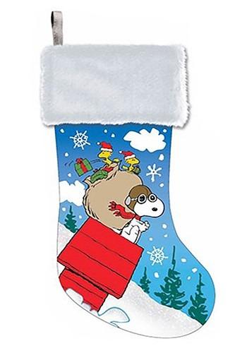 Peanuts Snoopy w/ Glitter Satin Printed Stocking