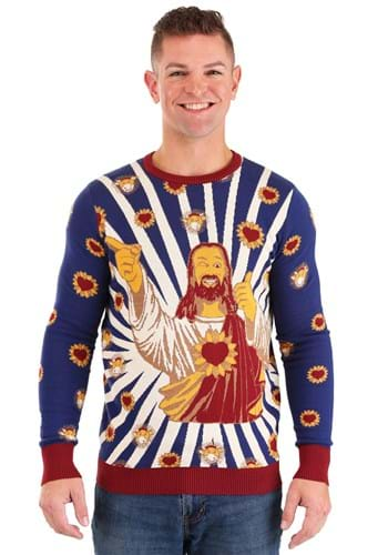 Jay and Silent Bob Buddy Christ Adult Ugly Sweater Upd