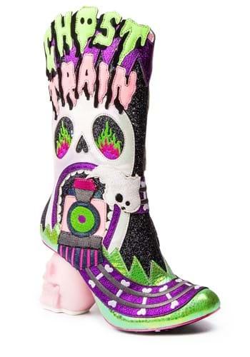 "Irregular Choice ""Ghost Train"" Halloween Boot Heel"