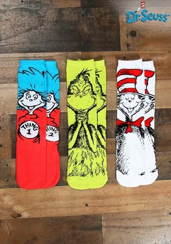 Adult Dr Seuss Characters 3 Pairs Crew Sock Set