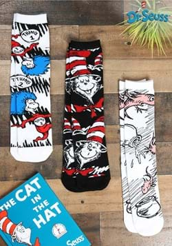 Adult The Cat in the Hat Crew Sock 3 Pairs Set