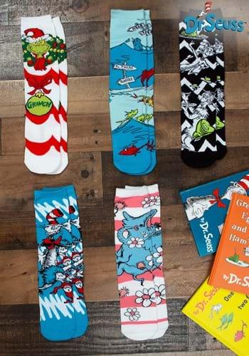 Adult Dr Seuss Patterns 5 Pairs Crew Sock Set