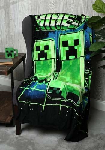 Minecraft Creeper Digital Fleece Throw-update