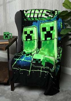 Minecraft Creeper Digital Fleece Throw