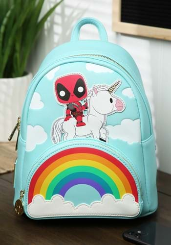 Pop By Loungefly Marvel Deadpool Unicorn Rainbow Backpack-1