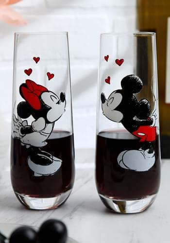 Mickey Minnie 2 Stemless KISS Hearts Champagne Flutes-1-1