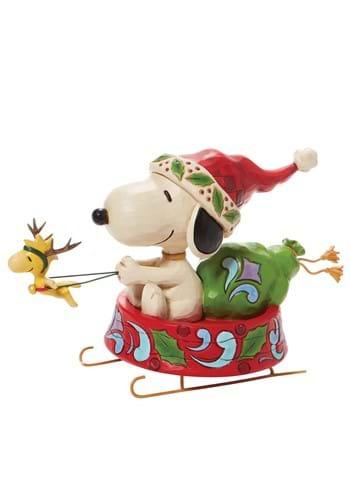 Jim Shore Santa Snoopy in Dog Bowl Sled Statue