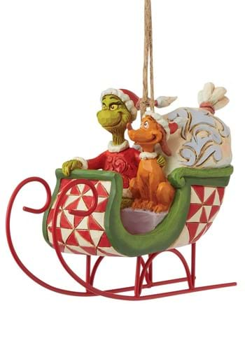 Jim Shore Grinch and Max in Sleigh Ornament