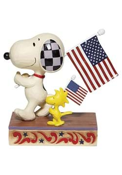 Jim Shore Snoopy Woodstock with Flags Statue