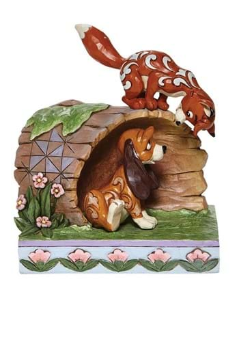 Jim Shore Fox and the Hound on Log Statue