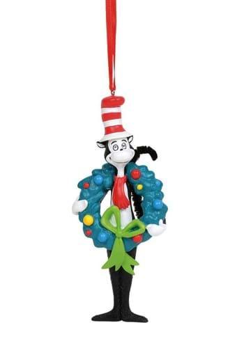 Dr Seuss Cat in the Hat w Wreath Ornament