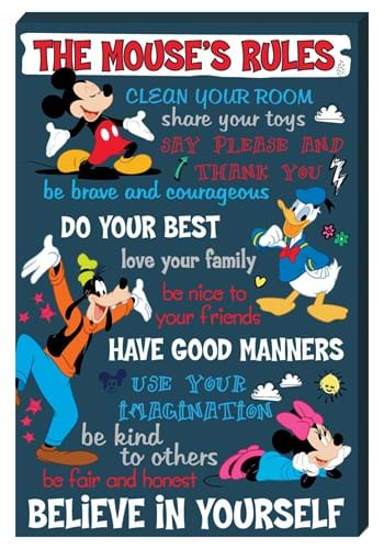 Mickey Mouse The Mouse's Rule Inspirational 16x24 Canvas Wal