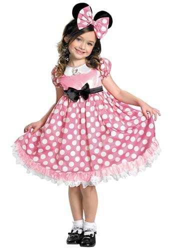 Girls Minnie Mouse Pink Glow in the Dark Dot Dress