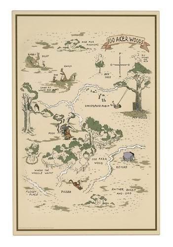 Winnie the Pooh Map Wood Wall Decor