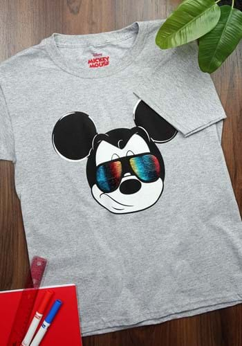 Boys/Youth Mickey Mouse Rainbow Foil Glasses Shirt