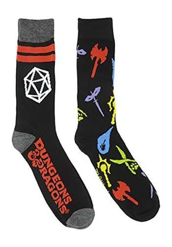 Adult Black Dungeons and Dragons 2 Pack Socks