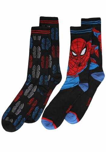 Mens Black Spiderman Face and Spider 2 Pack Socks