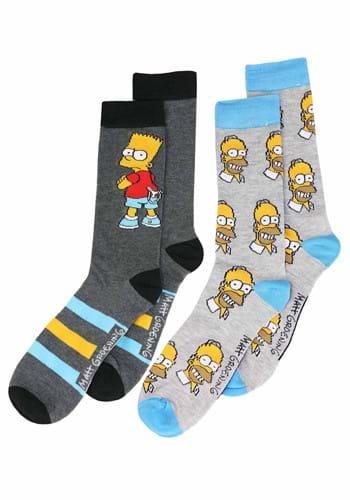 Men's Bart and Homer Simpson 2 Pack Socks