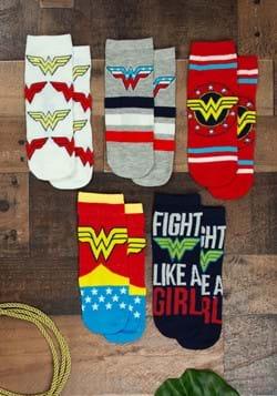 Ladies Red Wonder Woman Logo 5 Pack Socks