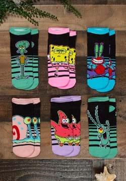Ladies Black Spongebob 6 Pack Socks