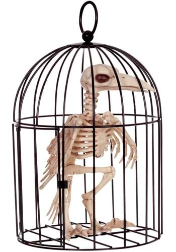9.5-Inch Skeleton Raven in Cage