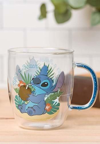 Stitch Life's a Beach 14 oz Glitter Handle Glass Mug-1