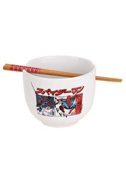 Spiderman Manga Panels Ceramic Ramen Bowl w/ Chopsticks