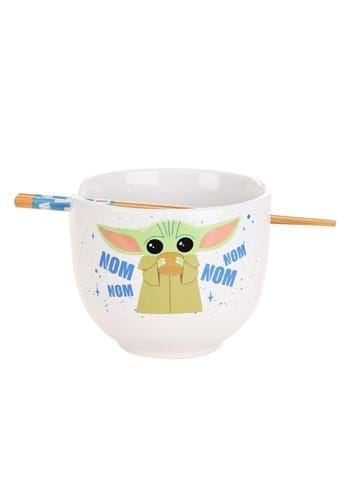 Baby Yoda Nom Ceramic Ramen Bowl Chopsticks-1
