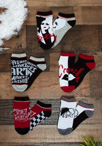Disney Cruella Ankle Socks 5 Pack