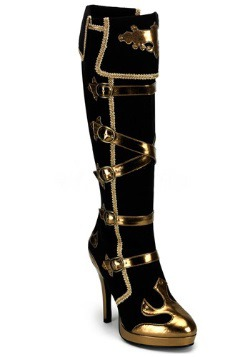 Sexy Black and Gold Pirate Boots For Women